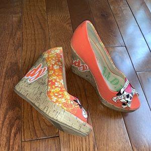 Ed Hardy Orange Wedge Sandal